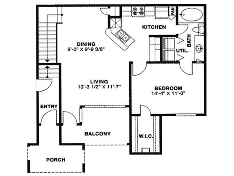 721 sq. ft. 60 floor plan