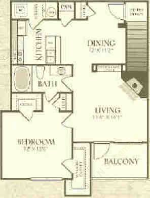 892 sq. ft. A2-U floor plan