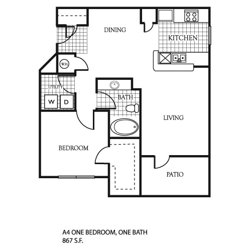867 sq. ft. A4/A4G floor plan
