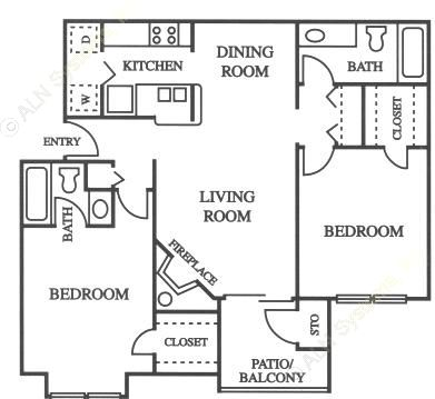 934 sq. ft. B2 floor plan