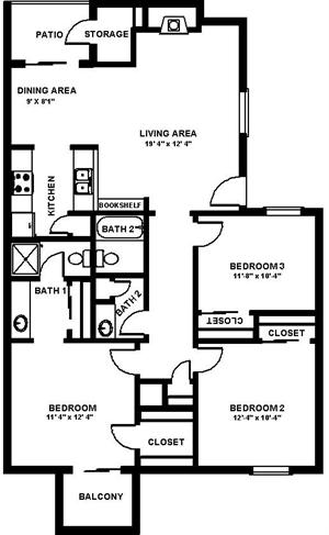 1,050 sq. ft. C floor plan