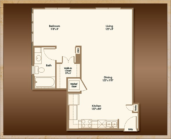 662 sq. ft. A1D floor plan