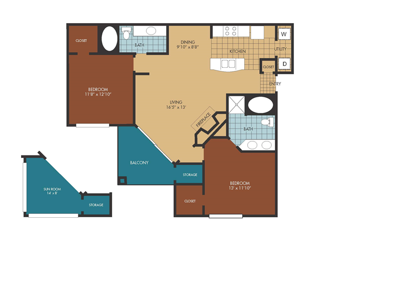 1,069 sq. ft. Oak floor plan