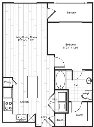 723 sq. ft. A4 floor plan