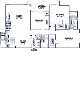 1,355 sq. ft. De Soto floor plan