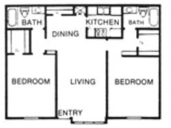 1,000 sq. ft. F floor plan