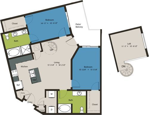 1,281 sq. ft. B4-L1 floor plan