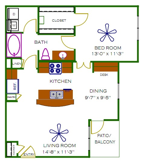 756 sq. ft. Quin floor plan