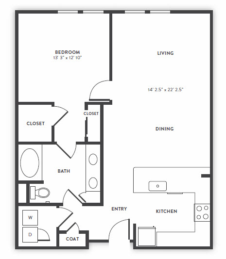 961 sq. ft. to 997 sq. ft. A4 floor plan