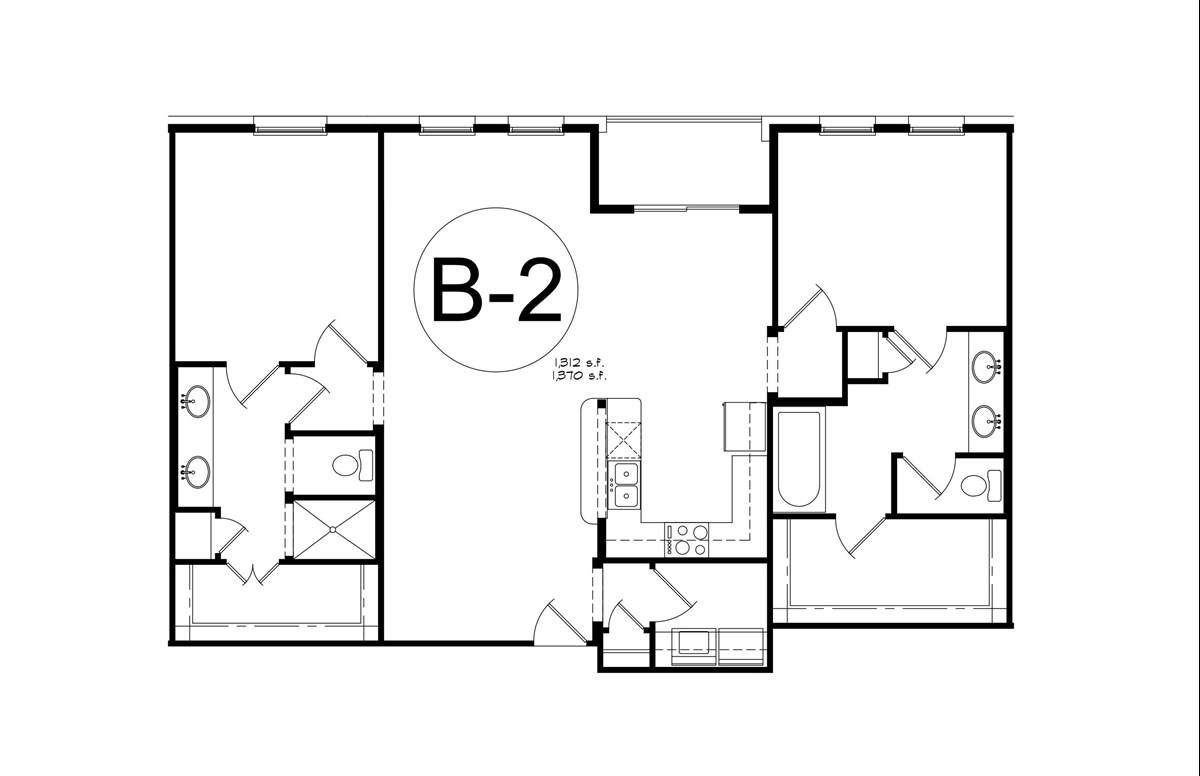 1,370 sq. ft. B2 floor plan