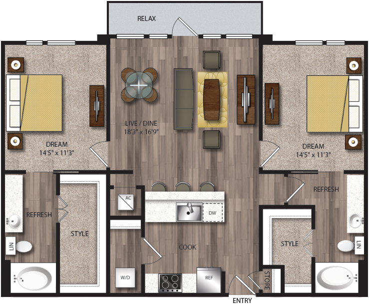 1,199 sq. ft. B7.1 floor plan