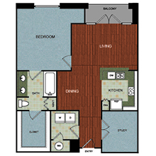 1,095 sq. ft. A8 floor plan