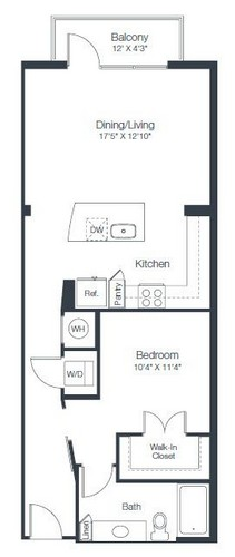 807 sq. ft. A3A floor plan