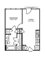583 sq. ft. A1A floor plan
