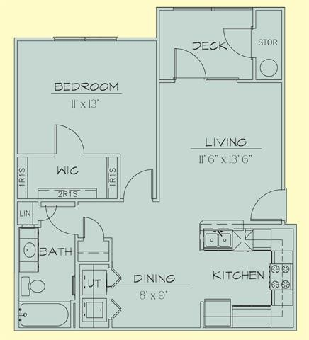 727 sq. ft. 60% floor plan