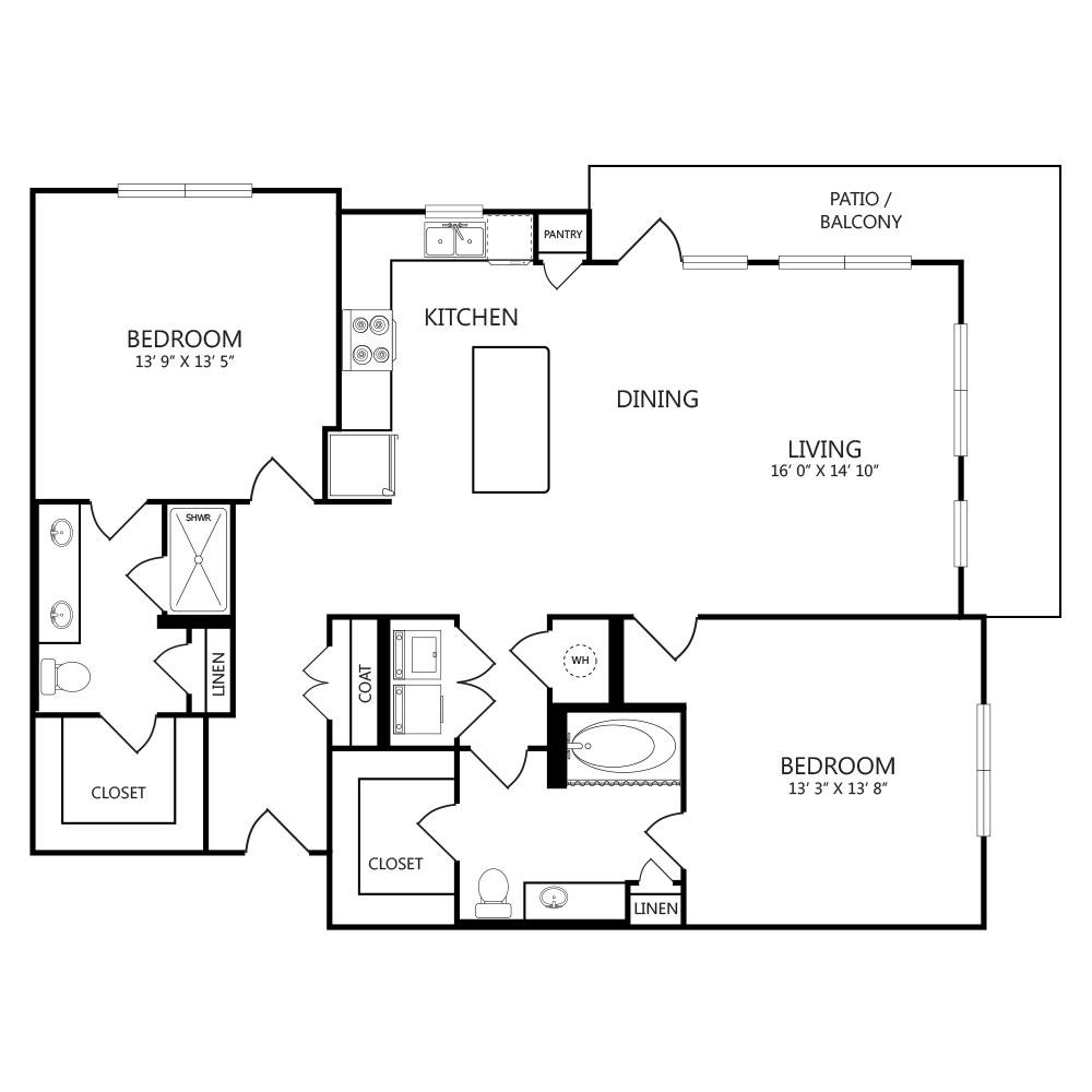 1,380 sq. ft. B3 floor plan