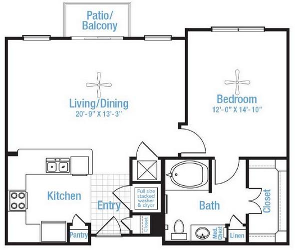 793 sq. ft. Glenview floor plan