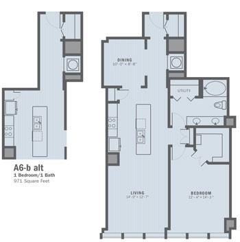 971 sq. ft. A6B ALT floor plan