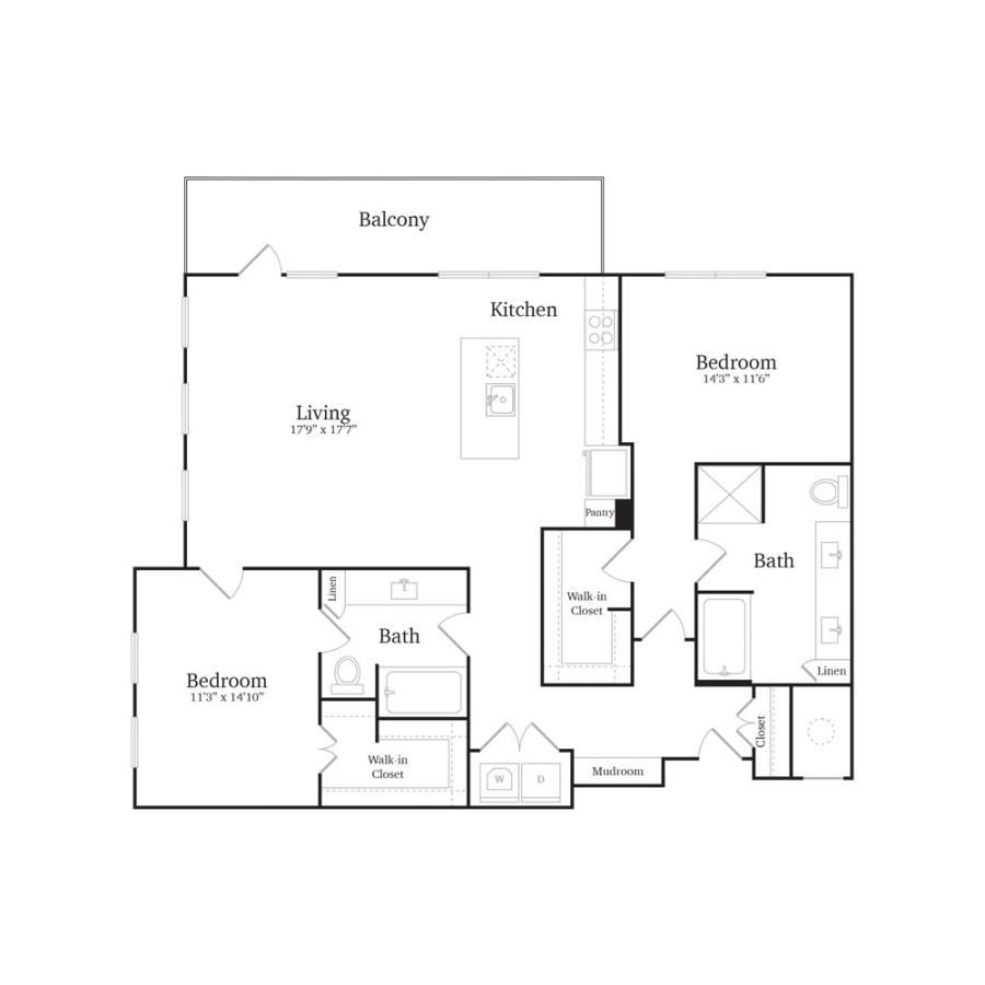 1,330 sq. ft. B4B floor plan