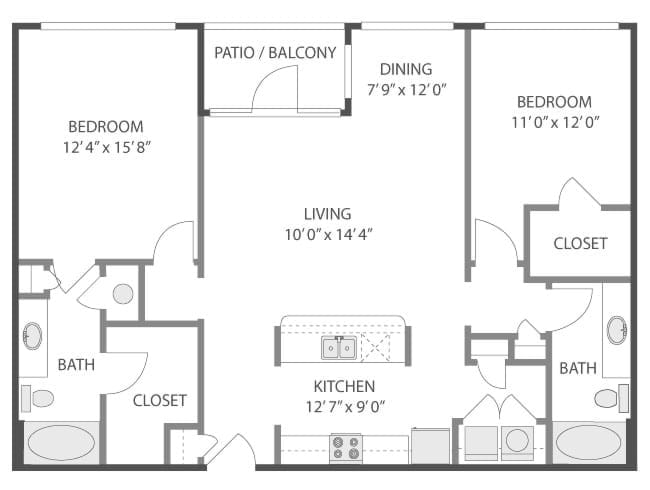 1,230 sq. ft. Seagram/C6 floor plan