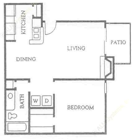 660 sq. ft. A-2 floor plan