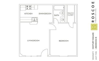 633 sq. ft. C floor plan