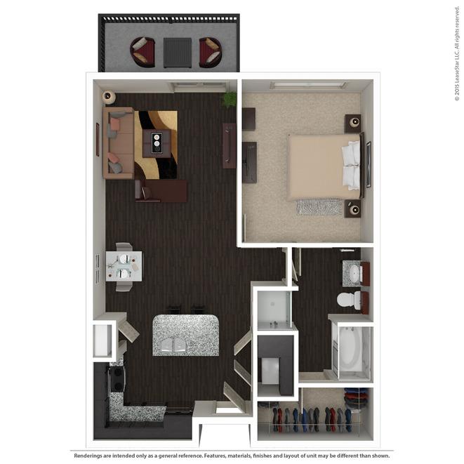 844 sq. ft. A3.3 floor plan