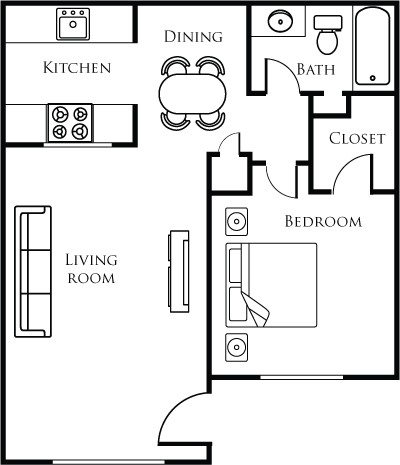 684 sq. ft. B floor plan