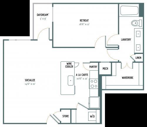 928 sq. ft. A6 floor plan