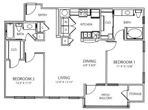 1,069 sq. ft. B2 floor plan