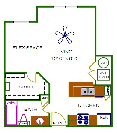 521 sq. ft. Surrey floor plan