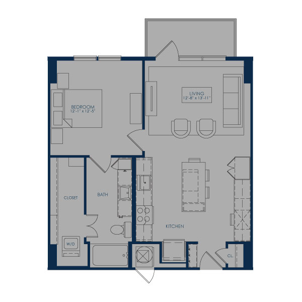 756 sq. ft. A27.1 floor plan