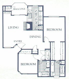 1,024 sq. ft. MAGNOLIA floor plan
