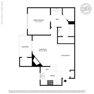 691 sq. ft. A2A floor plan