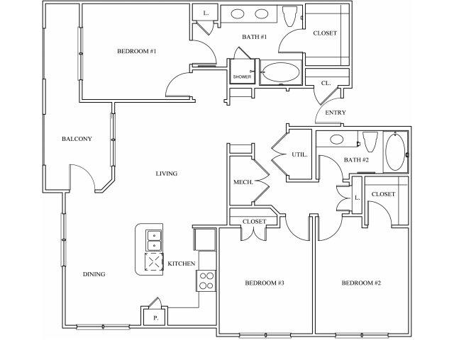 1,453 sq. ft. C1 floor plan