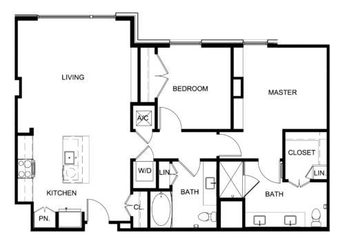 1,155 sq. ft. B1 floor plan