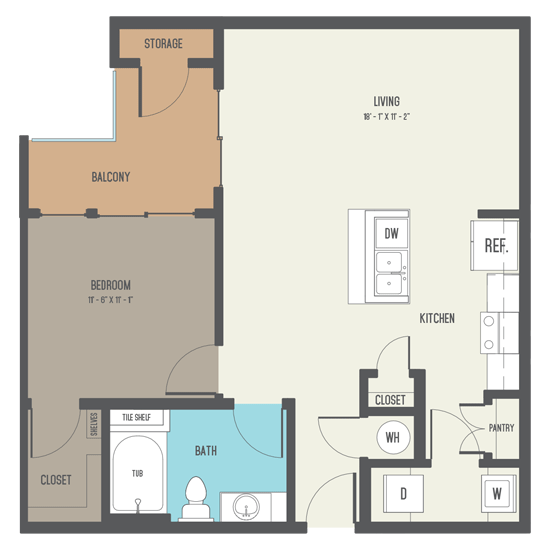 809 sq. ft. A9 floor plan