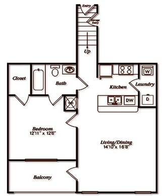 809 sq. ft. A1UGar floor plan
