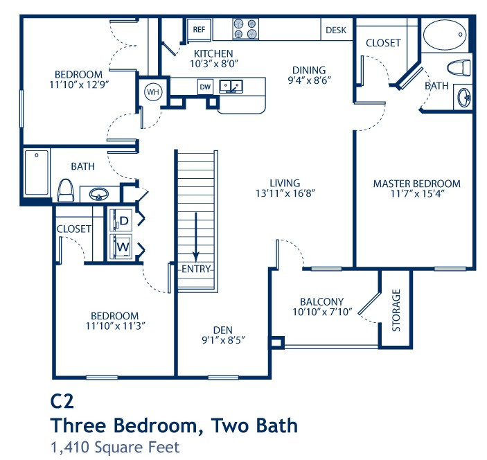 1,410 sq. ft. C2 floor plan