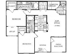 1,234 sq. ft. B4 floor plan