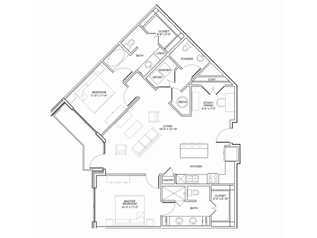 1,318 sq. ft. 2E floor plan