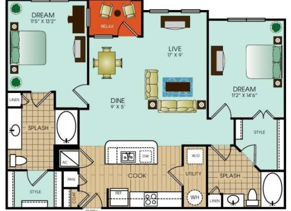 1,152 sq. ft. B10 floor plan