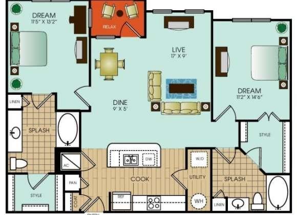 1,152 sq. ft. B10 floor plan