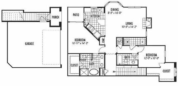 1,397 sq. ft. B6 floor plan