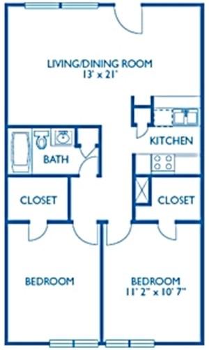 869 sq. ft. Cromwell floor plan