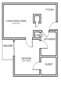 582 sq. ft. A1A floor plan