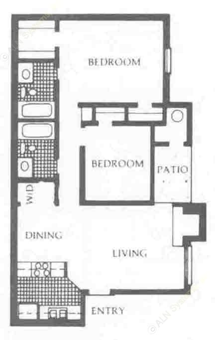 890 sq. ft. DW/UP floor plan