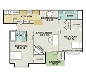 1,000 sq. ft. Quarter House floor plan