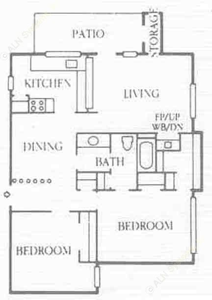 983 sq. ft. B2 floor plan