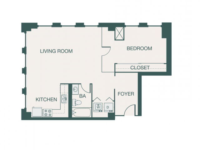 750 sq. ft. M1A floor plan